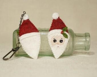 Christmas Santa Key Chain, Wool Felt Christmas Decoration *Ready to ship