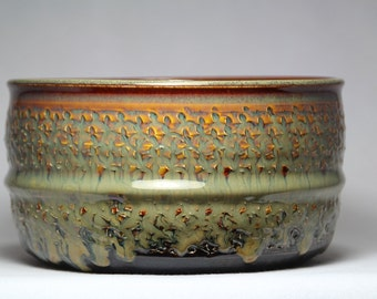 Hand-thrown pottery bowl, serving or casserole bowl