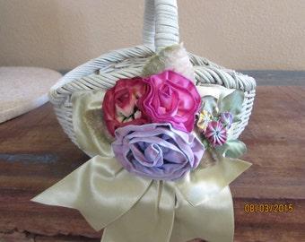 sage green flowergirl basket