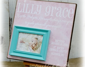 Baby Baptism, Christening Personalized Picture Frame, Nursery Decor, New Baby Gift, Personalized Frame, Psalm 9:11