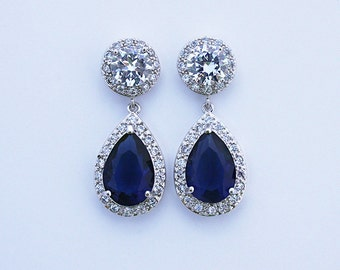 Chrissy - Blue Sapphire Wedding Earrings, Bridal Earrings, Crystal Teardrop Earrings, Bridal Jewelry, Cubic Zirconia, CZ Drop Earrings