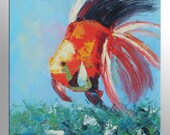 Fish Wall Art Painting Abstract Bedroom Decor Large Oil Painting Original Artwork Modern Painting Canvas Art Canvas Wall Art Palette Knife