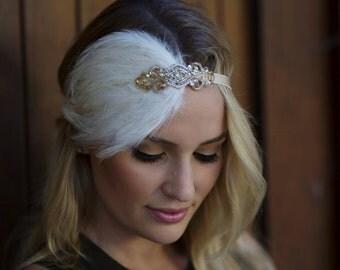 IVORY FEATHER headband  great gatsby headpiece gold beaded headband champagne CREAM  1920s Gatsby flapper, champagne, Gatsby headpiece