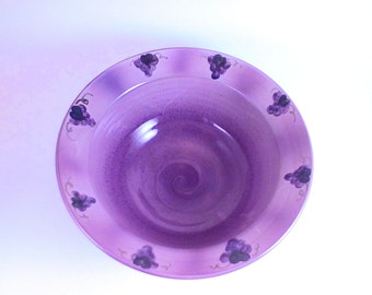 Pottery bowl with hand painted grapes, grape bowl, ceramic bowl purple bowl pottery, bowl ceramic serving bowl deep pottery bowl
