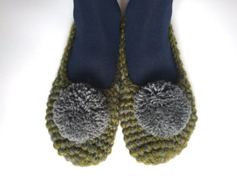 Crochet Slippers with pom pom grey green colors. house slippers, women slippers