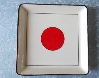 Japanese Flag Tray from Gien , Red Sun , Tokyo pattern trinket , Japan Red Sun Circle , Hinomaru ,  Nisshōki Flag.