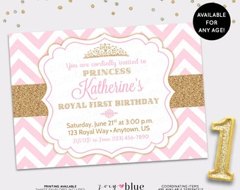 Princess Birthday Invitation Pink Gold Chevron Pattern Gold Glitter Little Princess Party Invitation Girl First Birthday - Digital File