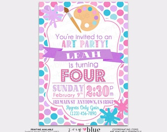 Painting Party Invitation Birthday Art Party Invitation Birthday Invitation Typographic Polka Dot Pink Lilac- Printable Digital File