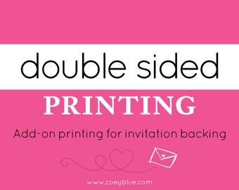 Back Design Printing (Invitation Backing) Add-On Professionally Printed