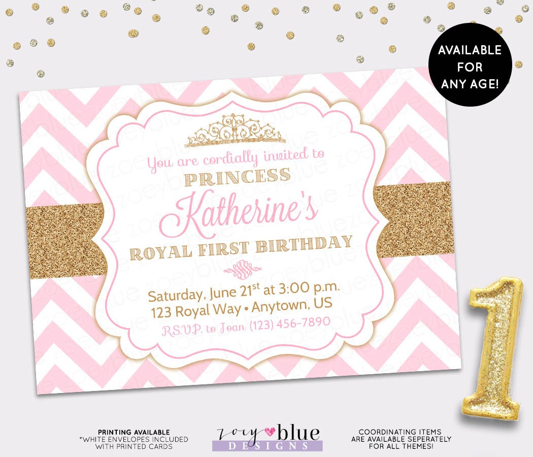 Pink And Gold Princess 1st Birthday Party Fresh Pink And: Princess Birthday Invitation Pink Gold Chevron Pattern Gold