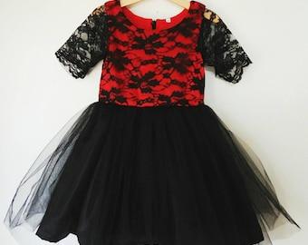 Girl's Dress red and black lace tutu dress, flower girl dress
