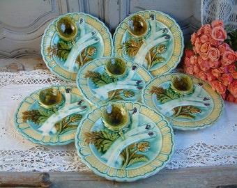 Set of 6 Antique french majolica asparagus artichoke plate. Majolica wall plates. Asparagus plate. Artichoke plate. Antique french majolica