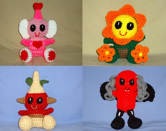 Seasonal amigurumi pattern bundle - crochet baby pattern - crochet Flower pattern - crochet Vampire pattern - Cupid pattern Digital Download