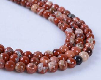 "4MM318 4mm Red flame jasper round ball loose gemstone beads 16"""