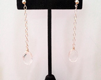 Crystal Color Gold-FIlled Faceted Stone Earrings