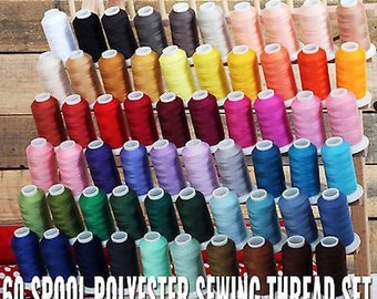 60 Large Spools Polyester Sewing Thread Set 600m Spools 50/3 Wt - Threadart