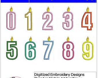 Embroidery Design Cd - Birthday Numbers(1) - 10 Designs - 9 Formats - Threadart