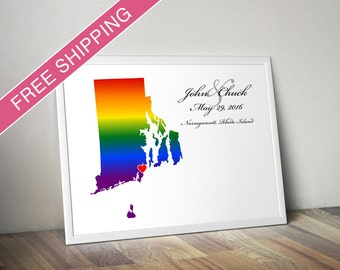 Rhode Island State Rainbow Map Art Print - Personalized LGBTQ Wedding Gift, Engagement Gift, Wedding Guestbook
