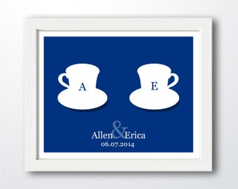Two Tea Cups Art Print - Personalized Kitchen Art - Wedding Gift - Anniversary Gift