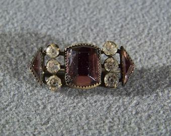 Vintage Yellow Gold Tone Multi Stone Tone Fancy Pin Brooch    **RL