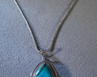 Vintage Sterling Silver Large Oval Turquoise Southwestern Style Pendant Charm Slide Necklace Chain         **RL