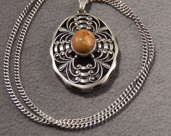 Vintage Sterling Silver with Genuine Agate Stone Big Bold Sophisticated Necklace Jewelry  **RL