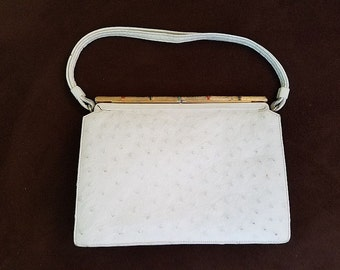 Vintage Ostrich Handbag by Koret with Bejeweled Clasp