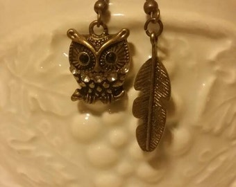 Feathery Owl Earrings