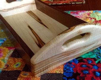 English Walnut and Tiger Ambrosia Maple Table Tray