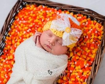Girl Candy Corn Hat - Baby Candy Corn Hat - Newborn Candy Corn Hat - Crochet Candy Corn Hat - Child Candy Corn Hat - Halloween Photo Prop