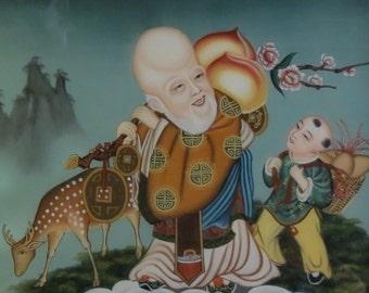 Early 20th Century Oriental Reverse On Glass - Fukurokujo, Boy & Deer