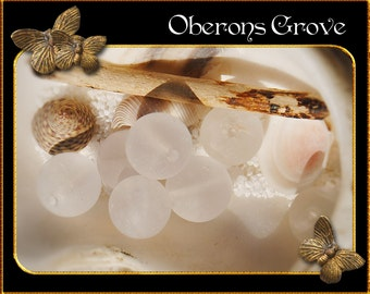 10 white quartz beads 10mm