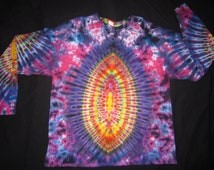 L2XL20 Psychedelic Turtle Egg w/Spine on Back, Long Sleeve Tie Dye T-shirt, Fits Unisex 2XL20