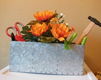 Aluminum Flower Box-Floral Arrangement-Office-Organizer-Caddy-Gift For Her-Desk Organizer-Orange-Sunflowers-Friend-Birthday-Just Because