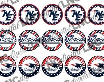 """INSTANT DOWNLOAD 1"""" New England Patriots Bottle Cap Images-106FTB"""