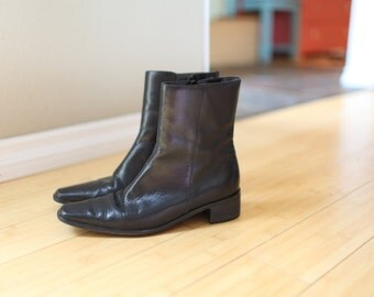 vintage black leather slip on oxford ankle boots womens 7 1/2 *
