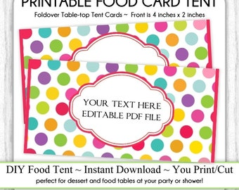 Editable Circus Polka Dot Table-top Tent Cards Carnival Birthday Food Card Circus  sc 1 st  Etsy & Polka dot place card | Etsy