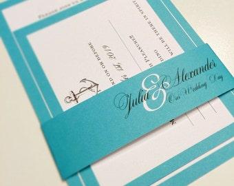 wedding invitations Anchor nautical wedding invite blue suite