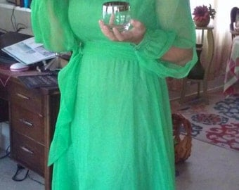 Green Chiffon Mike Benet Formals  Christmas  Gown