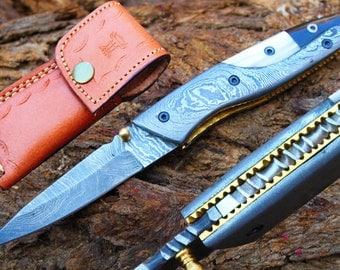 "3.0""Blade Custom Handmade Folding Knife w/Damascus Bolsters,Pearl Kerinitie,File-Work,Horn &  Sheath Cover UDK-F-A27"