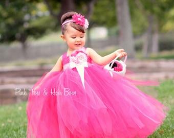 Flower girl dress-Fuschia Flower girl dress- Pink flower girl dress-Hot Pink flower girl dress- Flower Girl Dress