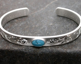 Turquoise Bracelet Hand Engraved Silver Personalized Bracelet Custom Engraved Bracelet Silver Bracelet Engravable Bracelet Silver Cuff