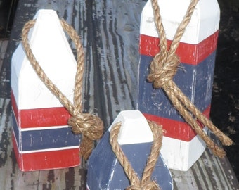 Lobster Buoys, Reclaimed Wood Set of 3. Nautical Decor