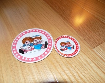 Raggedy Ann and Andy Tin Plates Saucers Dishes Vintage Saucer Pretend Play Plate