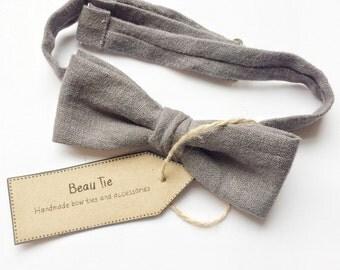 mens skinny bow tie, grey bow tie, linen bow tie, skinny bow tie, mens bow tie