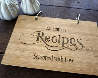 Personalized Blank Recipes Book Bridal Shower Gift Hostess Present Holiday Stocking Stuffer Under 20 Gift Notebook Custom Christmas Present