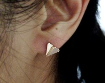 Paper plane earrings, tiny plane earrings. Origami ear studs. Christmas gift