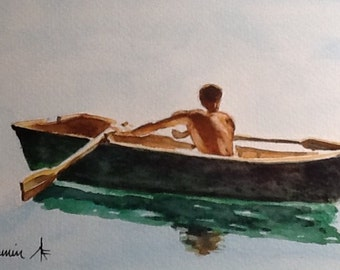 """Original Watercolour Painting,""""Solitary Rower"""", free shipping North America and UK."""