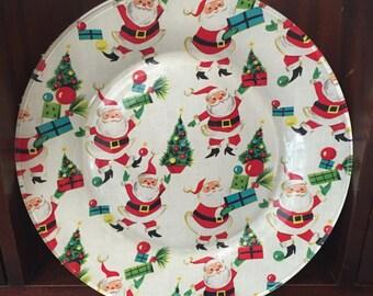Hand Decorated Glass Christmas Vintage Santa Decoupage Plate