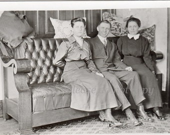Real Photo Postcard ~ the couch ~ RPPC ~ vintage photo
